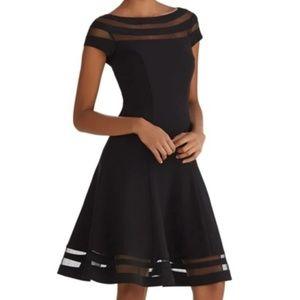 WHBM Little Black Sheer Stripe Dress